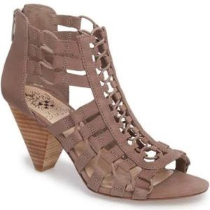 VINCE CAMUTO ELANSO CAGED SANDALS WITH CONE HEEL